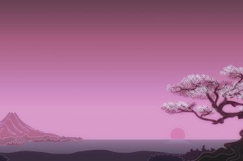 Wallpaper Digital Art Japan Minimalism Simple