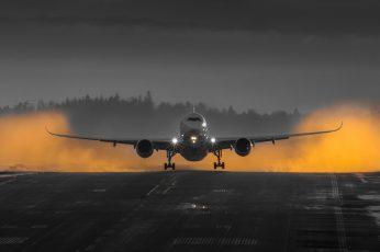 Wallpaper Airbus A350, Gray Airplane, Motors, Finnair