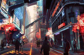 Wallpaper Artwork, Futuristic City, Cyberpunk