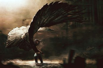 Wallpaper Black Angel Wallpaper, Woman With Wings Painting