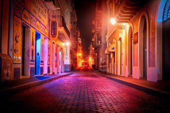 Wallpaper City Street During Night, San Juan, San Juan