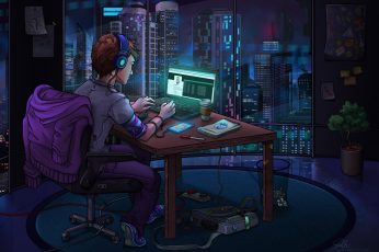 Wallpaper Computer, The Room, Hacker, The World At Night