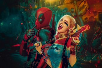 Wallpaper Deadpool, Margot Robbie, Harley Quinn, Marvel