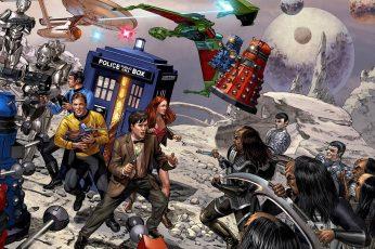 Wallpaper Doctor Who Star Trek Crossover, Star Trek