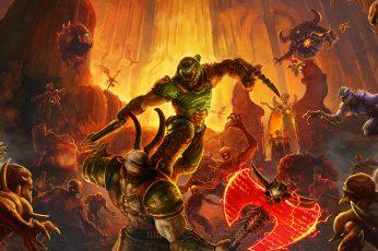 Wallpaper Doom Game, Doom Eternal, Hell, Demon, Video Game