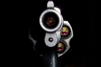 Wallpaper Funny Bullet Gun, Silver Revolver 1920×1080