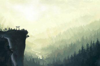 Wallpaper Gray Mountain Cliff, Gray Mountain Near Pine
