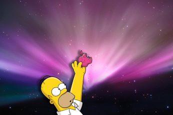 Wallpaper Homer Loves Donuts, Bart Simpson Holding Apple