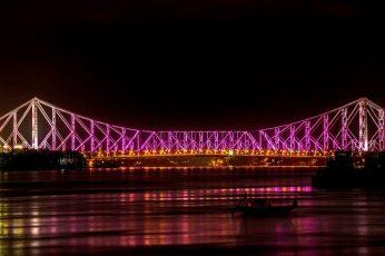 Wallpaper Kolkata, Howrah Bridge, Night, Illuminated