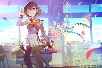 Wallpaper Lofi Anime, Anime Girls, School Uniform, Flowers