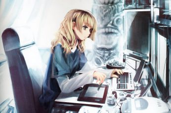 Wallpaper Lofi Anime Girl With Computer