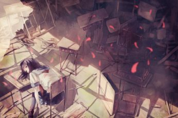 Wallpaper Lofi Anime Girls, Original Characters, Room, School Uniform