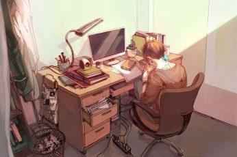 Wallpaper Lofi Anime, Original, Bedroom, Boy, Computer