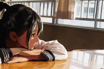 Wallpaper Lofi Anime, Original, Black Eyes, Black Hair, Girl