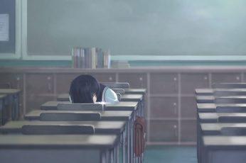 Wallpaper Lofi Black Haired Anime Character Wallpaper, Anime Girl