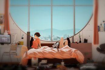 Wallpaper Lofi Black Haired Female Anime Character Wallpaper