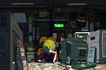 Wallpaper Lofi Boy Writing In Front Of Crt Tv Illustration, Anime