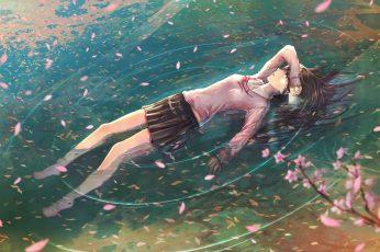 Wallpaper Lofi Female Anime Character Floating On Body Of Water