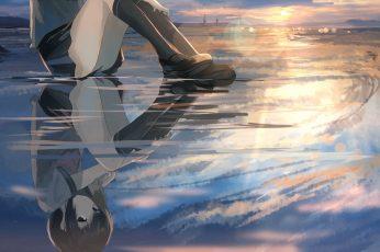 Wallpaper Lofi Reflection, School Uniform, Clouds, Water, Anime