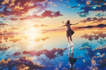 Wallpaper Lofi Sea, Sunset, Clouds, Original Characters, Anime