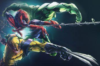 Wallpaper Marvel Hulk, Spider Man, And Wolverine Digital