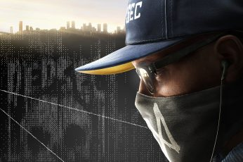 Wallpaper Men's Blue Fitted Cap, WatchDogs 2, Hackers