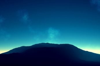 Wallpaper Mountain And Blue Sky, Silhouette Of Mountain