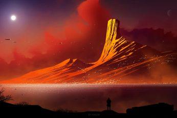 Wallpaper Mountain Illustration, Digital Art, Mountains