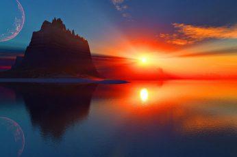 Wallpaper Nature, Sun, Sunset, Sunrise, Sky, Silhouette