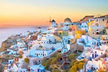Wallpaper Oia Village On Santorini Island In Greece Sunset