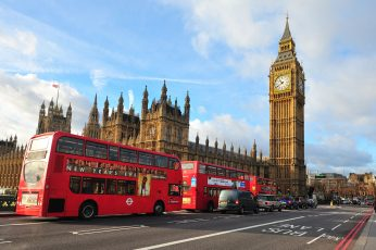 Wallpaper Palace Of Parliament, London, City, Street, Bus