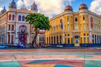 Wallpaper Pink And Yellow Buildings, Ground Zero, Recife