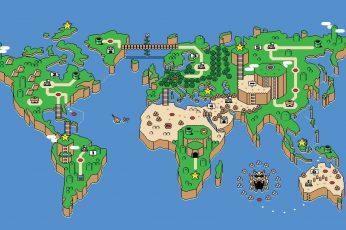 Wallpaper Super Mario World Map Digital Wallpaper, Snes