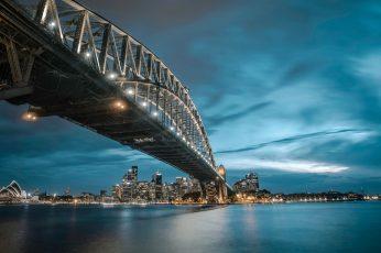 Wallpaper Sydney Harbor Bridge Sydney Ausralia Skyline