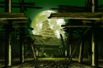 Wallpaper Temple With Full Moon Digital Wallpaper