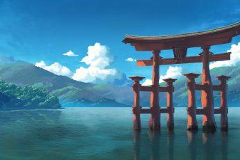 Wallpaper Tori Gate Digital Wallpaper, Shrine, Water