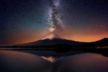 Wallpaper Volcano And Milky Way Galaxy, Nature, Stars