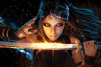 Wallpaper Woman Holding Sword Wallpaper, Fantasy Art