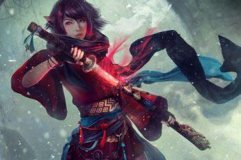 Wallpaper Women, Asian, Artwork, Samurai, Sword, Fantasy