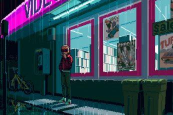 Wallpaper 198x, 1980s, Pixel Art, Retro Style, Hi Bit