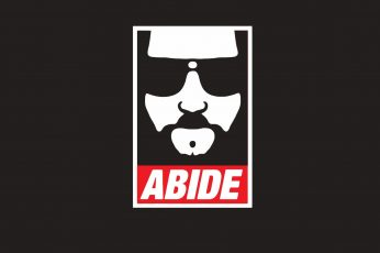 Wallpaper Abide Logo, Minimalism, Brown Background