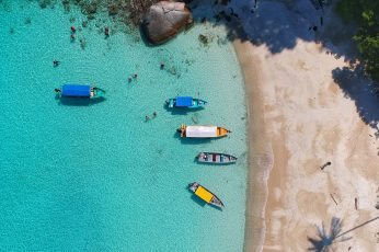 Wallpaper Aerial View Photography Of Boats On Seashore