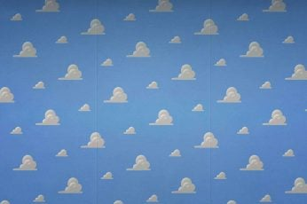 Wallpaper Andys Bedroom From Toy Story Hd, Blue, Clouds
