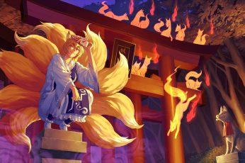 Wallpaper Animal, Blondes, Dress, Ears, Eyes, Fire, Fox