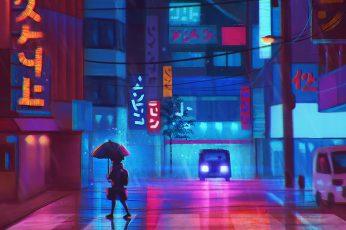 Wallpaper Anime, Landscape, Neon, Colorful