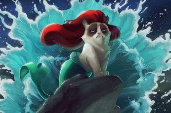Wallpaper Ariel Grumpy Cat Illustration, Mermaid, Cartoon