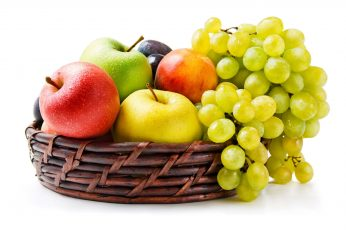 Wallpaper Assorted Color Fruits, Grapes, Apples, Basket