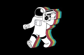 Wallpaper Astronaut Holding Boombox Clip Art, Space, Retro