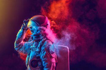 Wallpaper Astronaut, Smoke, Colored Smoke, Nasa, Space