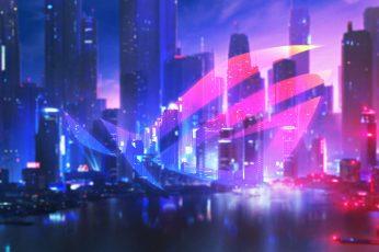 Wallpaper Asus Rog, Neon, Nightfall, Skyscrapers, Urban